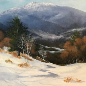 Winter mountain valley painting