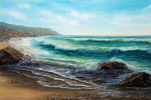 landscape painting of ocean and beach